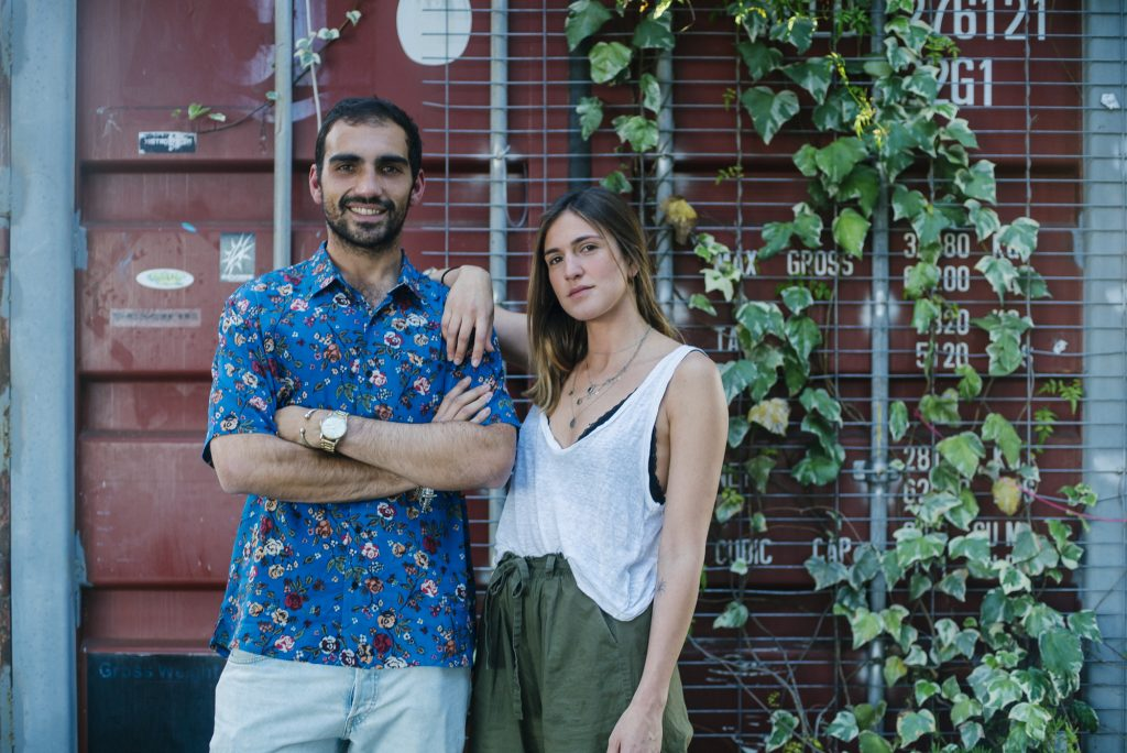 Bernardo and Joana near a container and plants at VIllage UNderground Lisboa